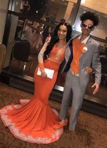 Arancione pizzo Prom Dresses Appliqued formale illusione manica abito da sera lungo del partito 2020 sweep treno lungo spettacolo abito puro su ordine