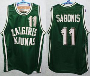 팀 리투아니아 Zalgiris Kaunas Arvydas Sabonis # 11 녹색 레트로 농구 유니폼 남성 스티치 사용자 지정 번호 이름 유니폼