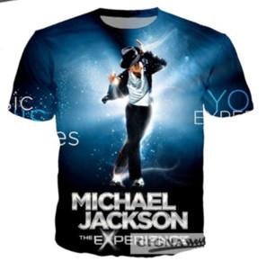 Cantante Michael Jackson Estilo Harajuku Nueva moda fresca Camiseta Impresión 3D Hombres / Mujeres Unisex Verano Cuello redondo Manga corta Casual Tops K964