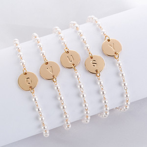 A to T 26 Letters Fashion Rose Gold Silver Alloy Letter Bracelet Beads Chain Charm Bracelet femme Personality jewellery Dropship