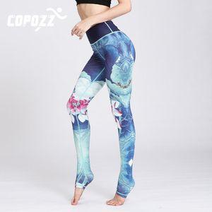 COPOZZ Gym Women Fitness Yoga Pants Slim High waist Sport Leggings Elastic Pattern Printed Long Tights for Running Tummy Control
