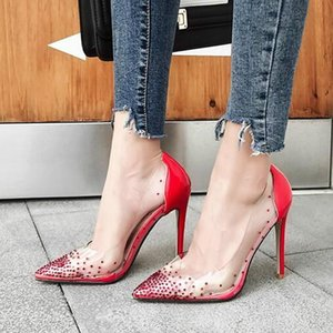 YEELOCA 2019 PVC jalea Rhinestone atractivo Super bombas altas Señoras Sandalias transparentes Oferta especial Zapatos de boca baja Tacones altos