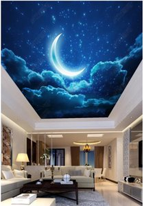 Personalizado Grande foto 3D papel de parede 3d murais de teto papel de parede céu noturno luar estrelada sala de estar quarto teto zenith mural