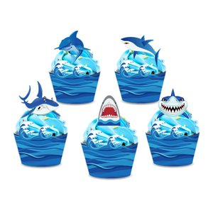 Nautical Theme Blue Shark Cake Topper Happy Birthday Party Decoration Ocean Wave Cupcake Wrapper Baby Shower Party Supplies
