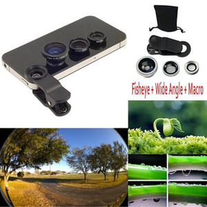 3 in 1 Universal Clip on Fish Eye Macro Wide Angle Mobile Phone Lens Camera kit For iPhone 6 5S 4 for samsung HTC LG