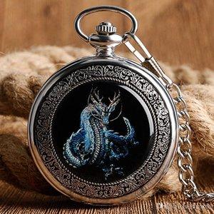 Azul Retro Silver Dragon Mecânica Mão Winding Men relógio de bolso cadeia colar pingente Carving Wind Up Steampunk presente