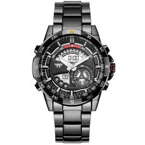 AMST Dijital Spor Saatleri Erkek Kuvars LCD Saat Saat Erkek Tam Çelik Bilek İzle Relogio Masculino 2017