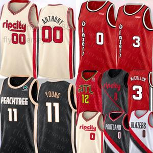 Trae 11 NCAA Jersey joven Damian Lillard 0 00 CarmeloAnthony C. J. Jersey 3 McCollum De'Andre 12 Hunter jerseys del baloncesto