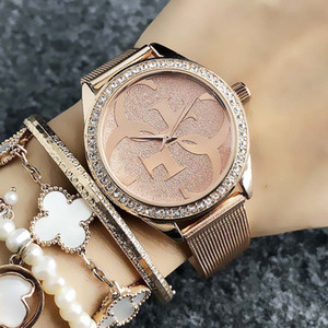 Marca de moda relojes de las mujeres de cristal de estilo reloj de acero banda de metal ver GS19