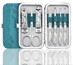7pcs La cura di Nail Pedicure Nail Clippers forbicine Tweezer Manicure Pedicure Set Travel Kit governare con l'imballaggio al