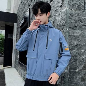 Мужчины куртки с капюшоном 2019 тенденция дикий случайный свободный коротких пальто моды личность колледж духового размером одежда M-4XL