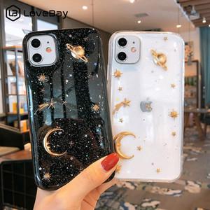 Temizle Bling Ay Yıldız Telefon Kılıfı iPhone 7 8 6 Plus 11 Pro XS Max Glitter Planet Yumuşak TPU Silikon Arka Kapak