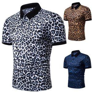 Polos yaz tasarımcı erkek rahat moda Polo gömlek Tees kısa kollu üstleri 19ss erkek leopar