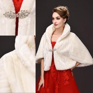 웨딩 댄스 파티 아이보리 겨울 따뜻한 신부 들러리 석 볼레로 CPA971 저렴한 겨울 코트 새로운 신부 랩 가짜 모피 재킷