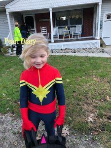 Marke Captain Marvel Kinder Erwachsene Kostüm Mädchen Ms Marvel Carol Danvers Cosplay vollen Bodysuit-Overall