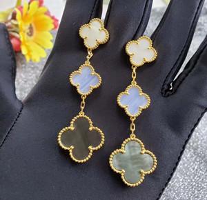 자연 흰색, 보라색 그렌와 귀걸이 매달려 S925 순수 실버 3PCS 꽃 목걸이 모양은 여성과 소녀 FR에 대한 도금 18K 진짜 금 쉘