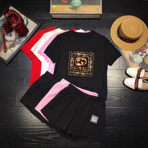 2020 hochwertige Damen Hosen Sets Oberseiten + Hosen 2pcs Frühling und Sommer beiläufige Sätze Modekleidung 8BRU