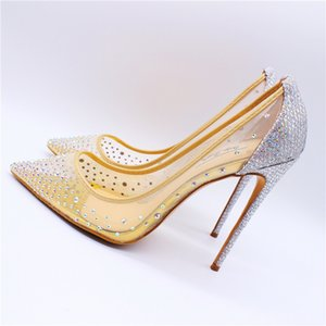 Casual Designer Sexy lady fashion nude mesh crysta strass point toe high Heels pumps shoes bride wedding 12cm 10cm 8cm brand new
