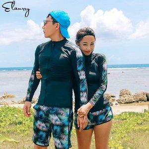2020 New Rash Guards Männer Frauen 5 Stück Langarm-Shirt Shorts Schwarz Paare Swimwear Surfing Badeanzüge Rashguard Wetsuits