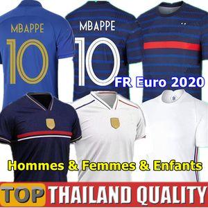 프랑스 축구 유니폼 2020 UEFA 유로 100 주년 축구 셔츠 새로운 2018 월드컵 챔피언과 함께 GRIEZMANN MBAPPE POGBA KANTE GIROUD 남자들 여자들 키즈 키트 제복