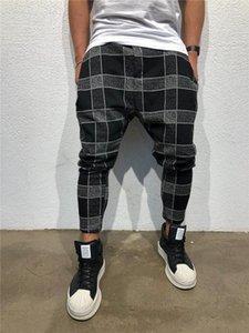 Pantolon Ekose Spor Moda Gevşek Orta Erkek Pantolon Uzun Pantolon Baskı Tasarımcısı Bel İpli Mens Harem 3D Dewxu