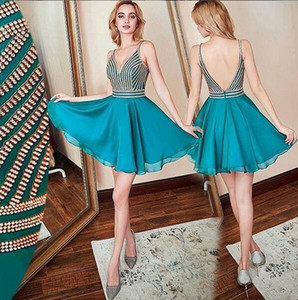 2019 Rachel Allan Chiffon Luxury Beaded Crystal Homecoming Evening Gowns sexy v Neck Backless Short Prom Formal Dresses Cheap custom made