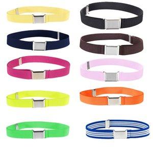 New children's boys and girls elastic band monochrome trousers belt adjustable length Solid Canvas kids belt waist belt