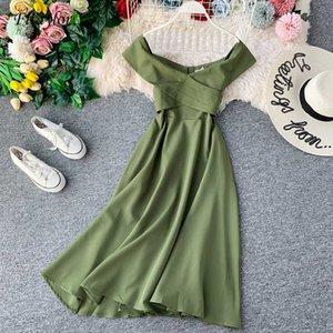 Fitaylor delgado de la vendimia riza el atractivo del hombro verano Midi otoño largo vestido Vestido ocasional de las mujeres del partido elegante A-Line Vestidos