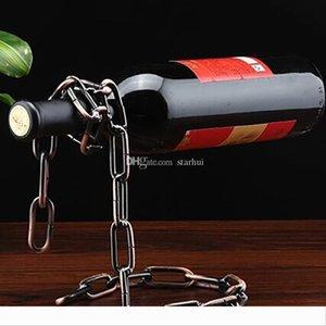 Creative chaîne Anneau Wine Rack magique chaîne Free Stand suspendu Porte-vin en métal Artisanat Home Decor En stock WX-C49