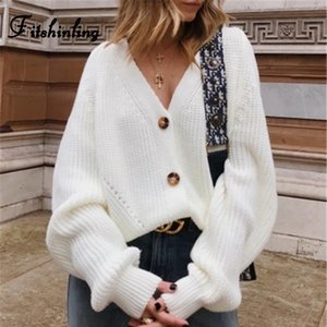 Fitshinling кнопки Up свитер Кардиган трикотаж женщин V шеи Женская одежда Зима 2019 Кардиган Корейский Стиль Cardigans Продажа