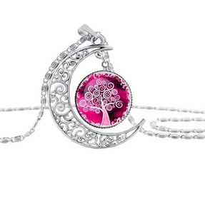 Hot Style Necklace IHollow-Out The Moon Time Gem Life Tree Color Sweater Chain Pendant Jewelry Gift