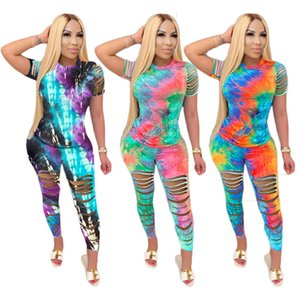 Women ripped S-4XL tie-dye t-shirt pants sweatsuit 2 piece sets hole outfits plus size summer casual clothing leggings short sleeve DHL 3411