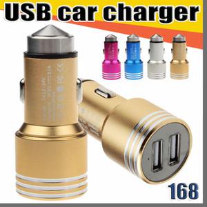168 puertos duales USB 2A cargador de coche de aleación de aluminio de diseño de metal martillo de la seguridad de bienes materiales para Smartphone Tablet PC teléfono inteligente
