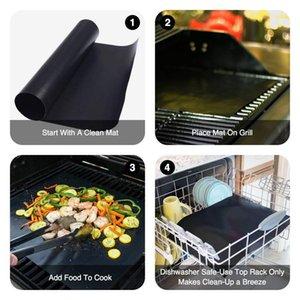 Barbekü Mat Aracı Setleri Pişirme Yeniden kullanılabilir Yapışmaz Barbekü Grill Mat Pad Pişirme Sac Meshler Taşınabilir Açık Piknik