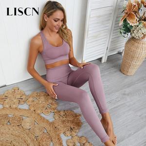 LISCN 2 Piece Set Mulheres Suit Sport Gym Roupa Yoga Set Vestuário feminino para fitness Yoga bra calças de treino Trainning