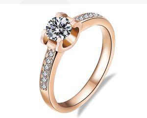 Trasporto di goccia Moissanite Diamond Engagement Ring Belle rosa 18 carati Anelli Solid Gold per le donne AU750 timbrato all'ingrosso