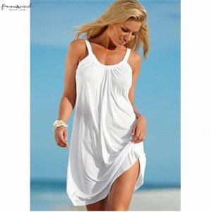 Summer Women Dresses Fashion Loose Ladies Casual Beach Mini Dress Sleeveless Short Camis Solid Color Dress 2020