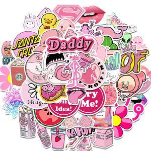 50PCS PVC بنات للماء KAWAII الوردي المرح ملصق لعب الأمتعة ملصقات للسيارات سيارة حقيبة الأزياء ملصقات الشارات أجهزة الكمبيوتر المحمول