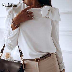 Nadafair Лук Женщины белый Блуза Мода 2020 Весна Длинные рукава шифон рубашка Элегантный фиолетовый Puff Топы и блузки Женщины