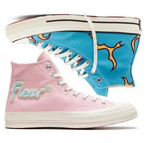 Golf Le Fleur х Chuck 70 1970s Chenille Flames Привет Мужчины Женщины Star Skateborad обувь Мода GLF Высокий розовый синий холст Конструкторы Sneakers36-44