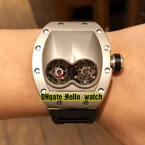 Новый RM053 Уникальный двойной серебристый серый циферблат швейцарский кварцевый движения мужские часы стальные корпус резиновый ремешок высокого качества спортивные часы Hello_Watch