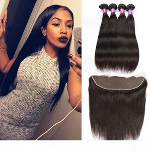 Brasiliana peruviana diritta dei capelli umani del tessuto Bundles Tessiture Etero 4pcs stile con merletto frontale Chiusura e Bundles Remy Hair Company