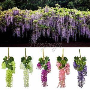 Wholesale-12pcs 105cm Silk Artificial Hanging Flower Silk Wisteria Plants Fake Flower Decorative Flower Wreaths for Wedding Home Decor