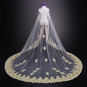 Удивительные 2020 золото аппликация кружева 3 метра свадебные вуали для невесты дешевые Белый слоновой кости без гребня длинные фата страна свадебное платье
