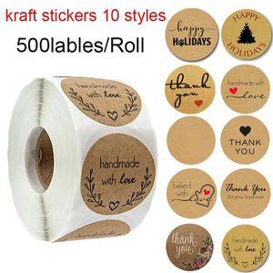 Adesivi kraft marrone rotondo da 1 pollice 500 Etichette per rotolo Handmade con amore grazie