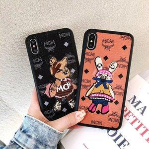 Bande Dessinée 3D Ours en Cuir Ours Brodé Coque de Lapin Mignon Lapin Téléphone Imprimé Lettre pour iPhone XS Max XR 6s 7 8
