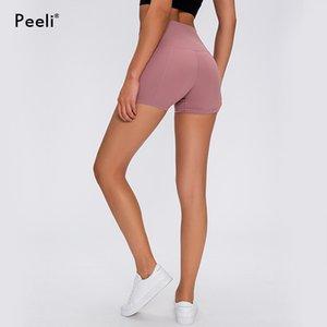 Yoga Peeli Nylon Fitness Sport Pantalones cortos de cintura alta Mujeres Deporte cortocircuitos delgados de control de la panza Gimnasio Leggins de secado suave rápida Atlética corto