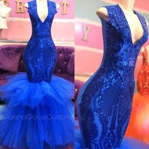 2020 Sparkly Sexy Русалка Пром платье V шея Backless Royal Blue многоуровневых оборки вечерних платья African платье знаменитость
