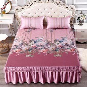 3Pcs Set Summer Sleeping Mat+Pillowcase Set Washable Lace Bed Skirt Pillow Cover