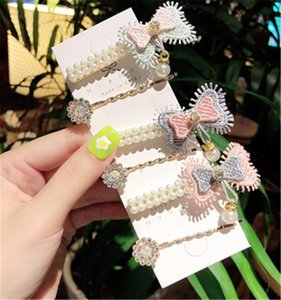 Children Child Girl Kids BB Hair Clips Hairpin Set Cute Korean Japan Sweet Bow Tie Knot Pearl Head Wear Accessories-HL-W12